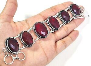 Natural Red Garnet Gemstone Handmade Fashion Jewelry Silver Bracelet B-619