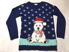 Notations Petite Small PS S Blue White Fuzzy Polar Bear Snowflake Sweater Xmas