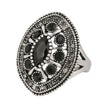 Silver and Black Stones Unisex Men Women Large size Q 18 mm Ring FR274