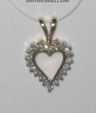 MAGNIFICENT ESTATE 10K YELLOW GOLD 20 ROUND DIAMOND HEART SHAPE PENDANT SPARKLY