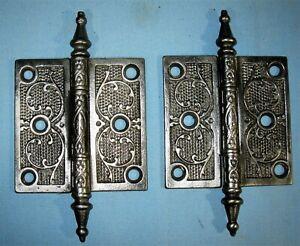 ANTIQUE PAIR SOLID CAST METAL DOOR HINGES VICTORIAN DESIGN CA1880 3 1/2 x 3 1/2