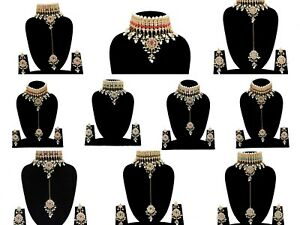 Indian Party Wear Rhinestone Studded Kundan Gold Plated Punjabi Trend Choker Set