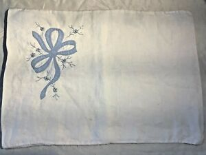 Baby blue embroidered Vintage pillow Slip case Small rectangle Linen travel 50s