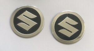2x 5.5cm Round S Emblem Aluminium Metal Sticker Badges For Suzuki Motorcycle