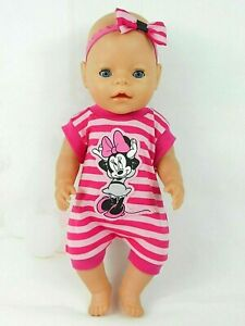 """Dolls clothes for 17"""" BABY BORN~16"""" CPK DOLL~MINNIE MOUSE PINK STRIPED JUMPSUIT"""