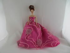 Hot Pink Dress with Floral and Long Train Made to Fit Barbie Doll