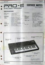Roland PRO-E Keyboard Synthesizer Arranger Original Service Manual Booklet, 1989