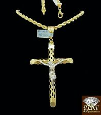 Real 10k Yellow & White Gold Jesus Charm/Pendant with 4mm, 28 Inch Rope Chain.