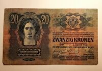 20 Husz,Kronen,Austria Hungary banknote,1913,Ultra Rare,2 stamps,stamp numbered.