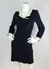 Betsey Johnson Sz 2 Dress Navy Blue Wool Stretch Retro Sailor Pinup Long Sleeve