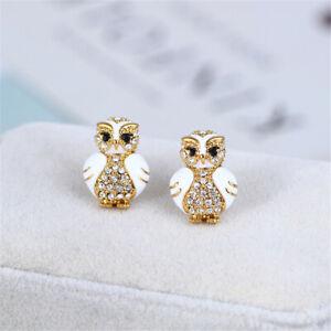 Kate Spade Enamel glaze Diamond inlay Star Bright Owl Stud Earrings WithDust Bag