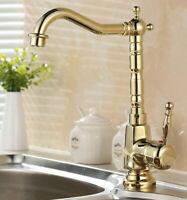 Gold Color Brass Deck Mount Single Handle Kitchen Sink Vanity Faucet Mixer Tap