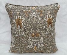 William Morris Fabric Cushion Cover 'Snakeshead' Pewter/Gold - Linen Blend