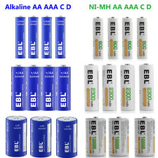 Lot EBL AA AAA C D Size NI-MH Rechargeable / Alkaline Non-Rechargeable Batteries