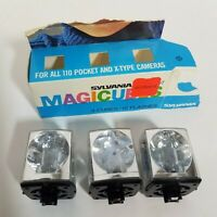 Vintage Sylvania GTE Flashcubes Set of 3 Magicubes 70's 110 Pocket X-Type Camera