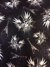 G74 Skull Metal Guitar Goth Biker Black Cotton Fabric Quilt Fabric