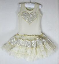 NWT 4 yrs OOH LA LA COUTURE Champagne Embroidered Tulle Heart Love Poufier DRESS