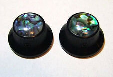 Guitar Parts METAL TOPHAT Skirt KNOBS 1/4inHole - ABALONE TOP - Set of 2 - BLACK