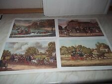 """4 Vintage Coloured Prints Of Stagecoaches All Printed By Jas Pollard Over 12""""x8"""""""