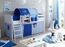 Lit mezzanine ERIC Pin massif teinté blanc tissus Bleu clair-Bleu foncé