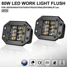 Dual Flush Mount LED Work Lights Bar Fog Pod Offroad Reverse Lamp Truck 4WD Jeep