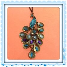 1Pc Fashion New Bronze Peacock Blue Crystal Pendant Chain Necklace 27.5''
