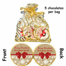 1 x bag of 5 Personalised Christmas Red VINTAGE BOW Belgian CHOCOLATE COINS Gift