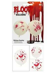 8x Bloody Splats Halloween Latex Balloons Helium Party Decoration Blood Hand