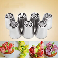 7Pcs Russian Flower Icing Piping Nozzles Tips Pastry Cake DIY Baking Tool