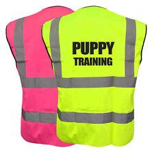 PUPPY TRAINING YELLOW PINK HI VIZ VIS WAISTCOAT VEST SAFETY DOG CANINE JACKET