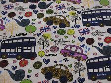 Blanco Y Azul Londres Autobuses,Inglaterra Estampado 100% Lona Del Algodón