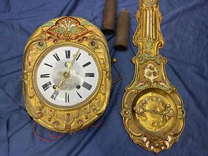 Prunk Comtoise Automat Figurenautomat Mondphase Antik Gold Barock Wanduhr Uhr
