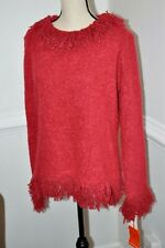Hearts of Palm Fringed Red Sweater XL  NWT