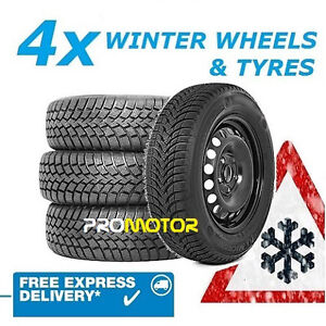 4 WINTER STEEL WHEELS AND 205/55 R16 HANKOOK TYRES FITS AUDI A3 (2003-2012)