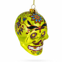 Decorated Skull Glass Christmas Ornament