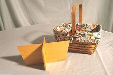 Longaberger Medium Basket +Divider & Fruit Liner Stationary Handle Homestead New