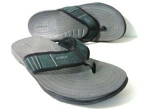 CROCS Crocs20547 Mens 11M Green/Black Iconic Comfort Thong Sandals Shoes
