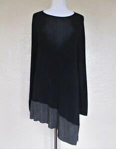 Eileen Fisher Women Tunic Top Size 1X Women black gray asymmetric knit