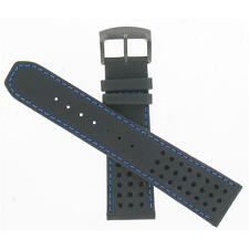 Citizen 23mm Black Leather with Blue Stitching Primo Watch Band 59-S52630