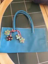 Lovely Nathalie Anderson turquoise summer bag with flowers NEW