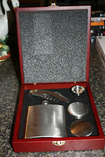 Stainless Steel Flask w/2 Cups, Funnel and a Bar Tool in Wooden Box