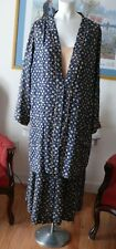 Early 1920 2 pc. Silk Afternoon Tea Dress Blue Polka-dotted  XL Rare size