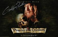Geoffrey Rush Signed Pirates Of The Caribbean Black Pearl 11x17 Movie Poster COA