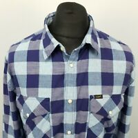 LEE Mens Western Shirt Snap 2XL Slim Fit Check Cotton
