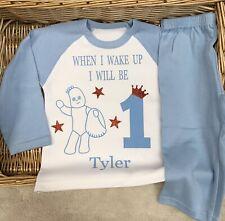 Iggle Piggle Birthday Personalised Pyjama Baby  Blue White Rabbit Goofy Elephant