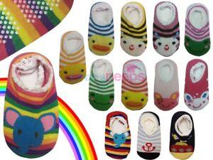 Baby Boy/Girl Toddler Anti-Slip/Skid Socks Grip Slippers 12-24 Months Rainbow