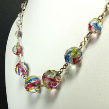 Pretty Antique Art Deco Rainbow Iris Faceted Glass Bead & Wire Necklace