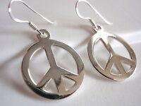 Peace Symbol Earrings 925 Sterling Silver Dangle Corona Sun Jewelry
