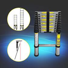 Alu Teleskopleiter ausziehbar 3,8m Höhe Anlege- Klappleiter 150kg Belastbarkeit