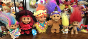 """Lot Of 6 Early 90's Various Russ Troll Figures. All Original. 5"""" And 3"""" Sizes."""